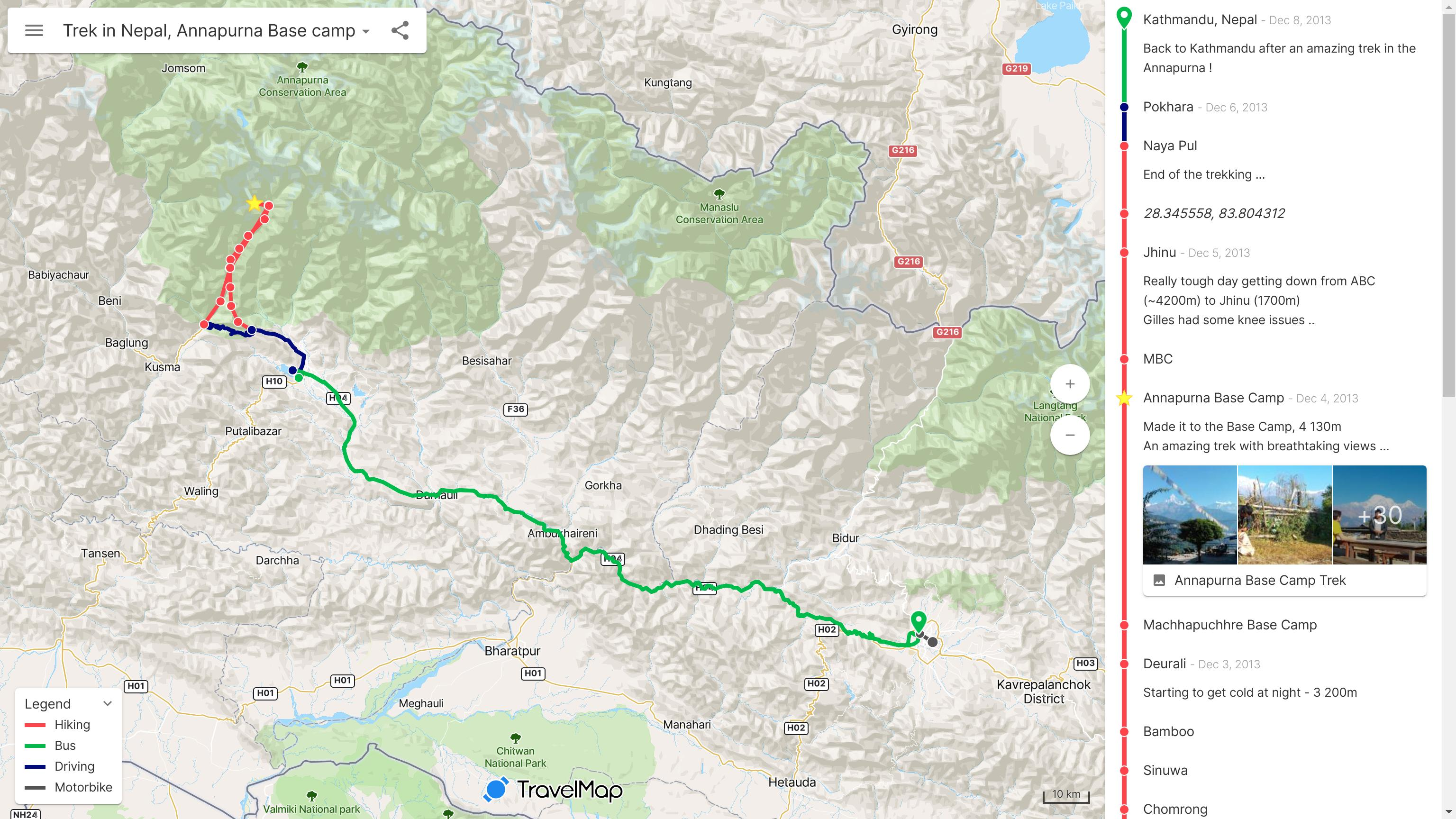 Trek in Nepal - Annapurna Base Camp map