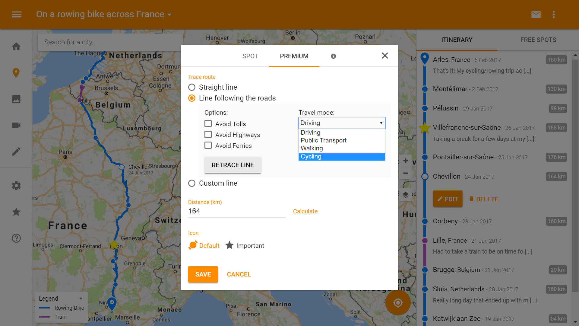Advanced itinerary builder/planner using geolocation